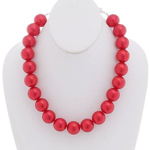 20mm Pearl Necklace Set Red