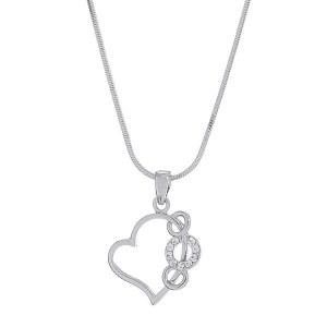 Circle Accent Heart Pendant Necklace