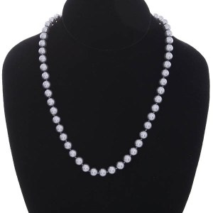 8mm Pearl Strand Necklace Grey