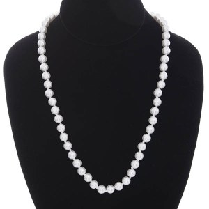 8mm Pearl Strand Necklace White