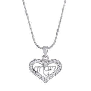 Rhinestone Heart Mom Pendant Necklace