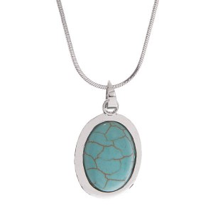Oval Turquoise Stone Pendant Necklace