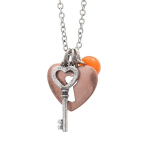 Love Charms Two Tone Pendant Necklace