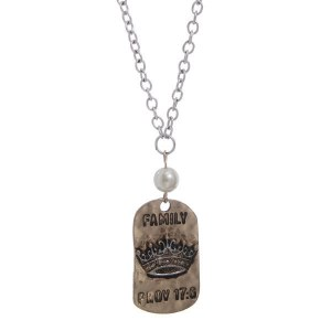 Proverbs 17:6 Family Tag Necklace Silver
