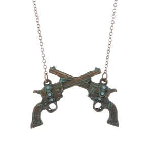 Crossed Pistols / Guns Pendant Necklace Patina