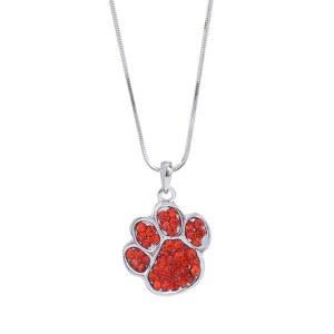 Rhinestone Paw Print Pendant Necklace Orange