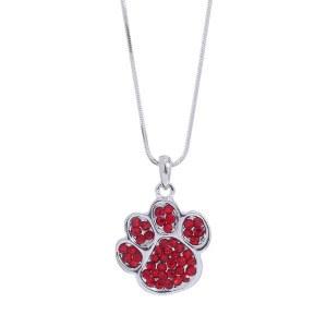 Rhinestone Paw Print Pendant Necklace Red