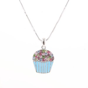 Cupcake Pendant Necklace Blue