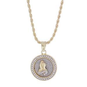 Praying Hands Circle Pendant Necklace Gold