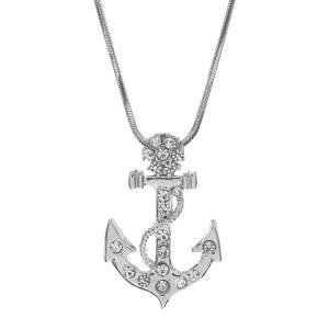 Rhinestone Anchor Pendant Necklace