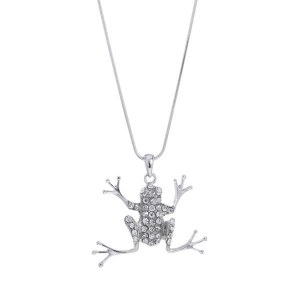 Large Frog Pendant Necklace Clear