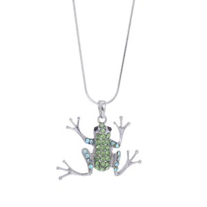 Large Frog Pendant Necklace Green