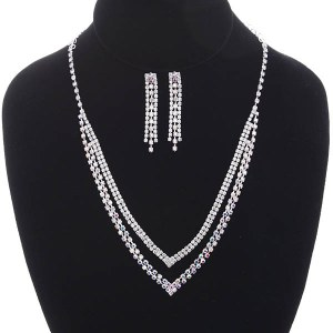 2 Line V Shaped Rhinestone Necklace Set AB