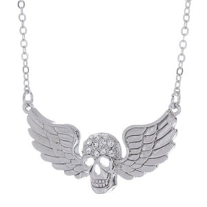 Winged Skull Pendant Necklace