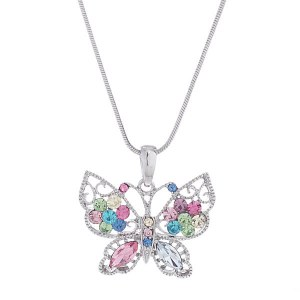 Butterfly Multi Crystal Pendant & Necklace