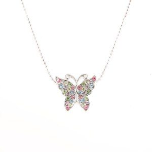 Small Multi Color Butterfly Pendant Necklace