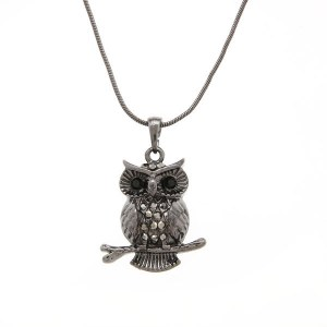 Perched Owl Pendant Necklace Hematite