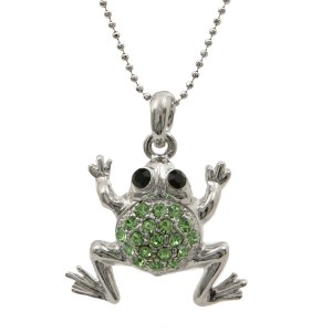 Round Green Frog Pendant Necklace
