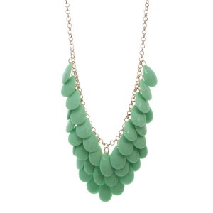 Layered Opaque Teardrops Necklace Set Green