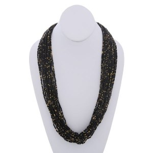 Long Seed Bead Necklace Set Black