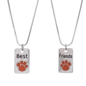 Paw Print Best Friends Pendant Necklace Set Orange