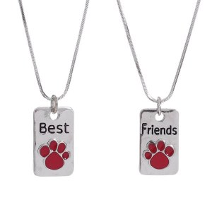 Paw Print Best Friends Pendant Necklace Set Red