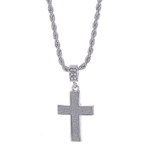 Sandblasted Cross Pendant Necklace Silver