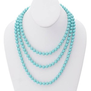 "60"" 8mm Pearl Necklace Turquoise"