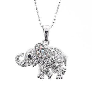 Rhinestone Elephant Pendant Necklace