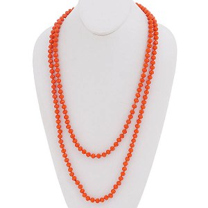 "60"" Beaded Necklace Red Orange"
