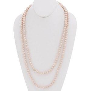 "60"" Beaded Necklace Light Peach"