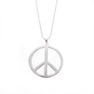 Large Silver Peace Pendant Necklace