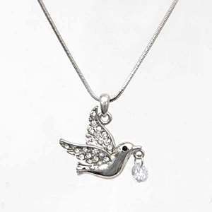 Dove with Dangling Crystal Pendant Necklace