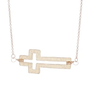 Sideways Cutout Cross Pendant Necklace Gold