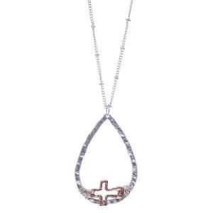 Cross Teardrop Pendant Necklace