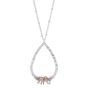 Elephant Teardrop Pendant Necklace