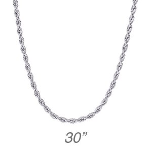 """Silver Rope Chain - 30"""""""
