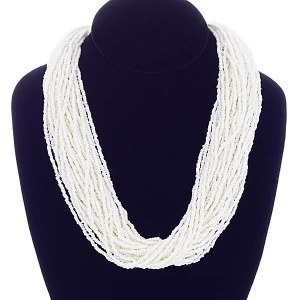 Thick Seed Bead Necklace Set Ivory