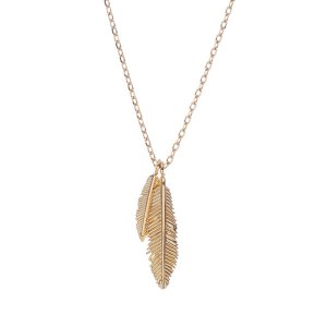 Two Feather Pendant Necklace Gold