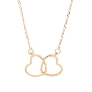 Connected Hearts Pendant Necklace Gold