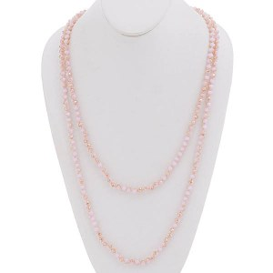 "6mm 60"" Crystal Necklace Pink"