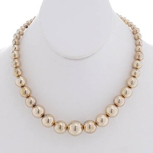 Graduating 16mm Gold Ball Necklace Set
