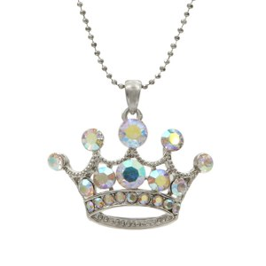 Large Crown Pendant Necklace AB/ Clear