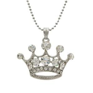 Large Crown Pendant Necklace Clear