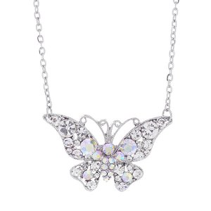 Large Rhinestone Butterfly Pendant Necklace