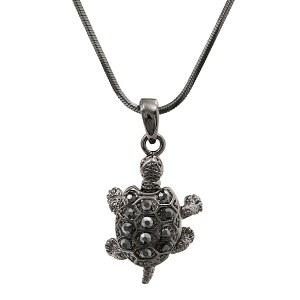 Hematite Turtle Pendant Necklace