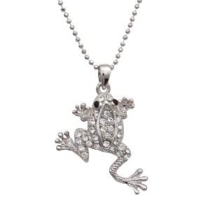 Rhinestone Frog Pendant Necklace