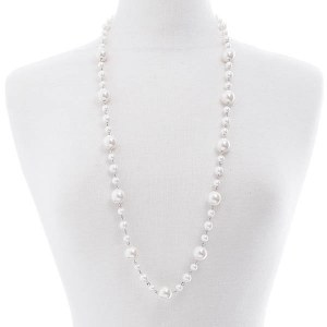 Long Pearl Chain Necklace Set Silver