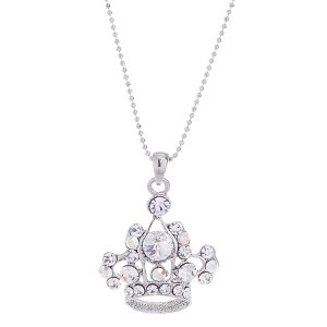 Large Rhinestone Crown Pendant Necklace