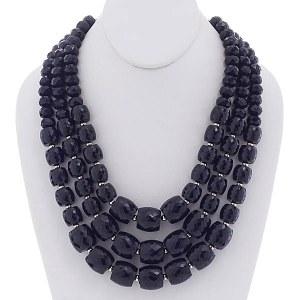 Chunky Multi Strand Beaded Necklace Set Black